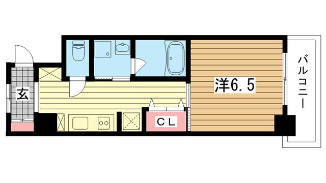 物件番号: 1025881391 パンプキンC  神戸市兵庫区新開地4丁目 1K マンション 間取り図