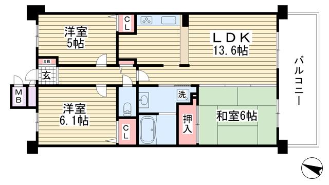 物件番号: 1025881412 コスモシティ神戸本山  神戸市東灘区本山南町9丁目 3LDK マンション 間取り図