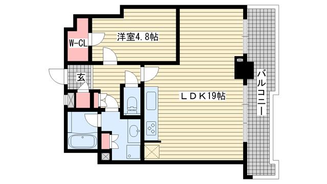 物件番号: 1025881418 ジークレフ新神戸タワー  神戸市中央区熊内町7丁目 1LDK マンション 間取り図
