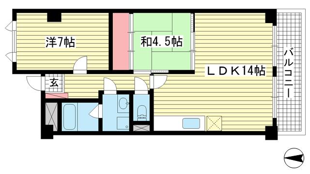 物件番号: 1025881424 レジデンス本山  神戸市東灘区本山中町4丁目 2LDK マンション 間取り図