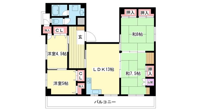 物件番号: 1025881430 パレルミエール  神戸市中央区古湊通2丁目 4LDK マンション 間取り図
