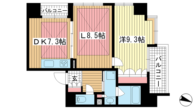 物件番号: 1025881433 ワコーレ元町ザ・シティ  神戸市中央区元町通3丁目 1LDK マンション 間取り図
