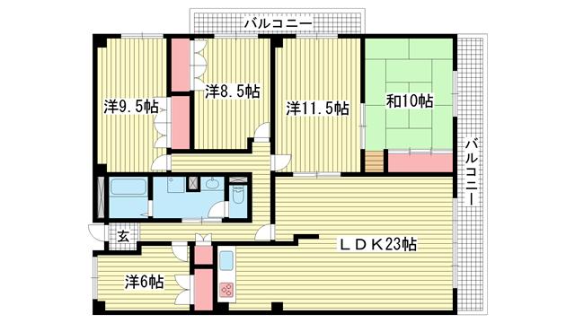 物件番号: 1025881463 熊内スカイハイツ  神戸市中央区熊内町1丁目 5LDK マンション 間取り図