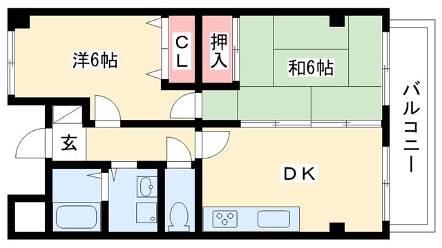物件番号: 1025881464 オーキッドマヤ  神戸市灘区天城通6丁目 2DK マンション 間取り図