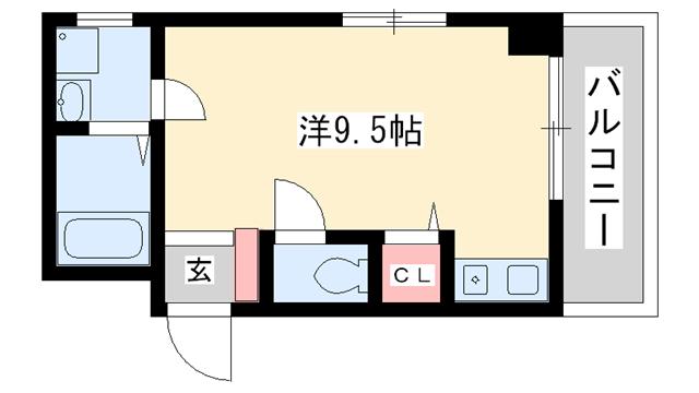 物件番号: 1025881469 グリーンガーデン  神戸市灘区泉通5丁目 1R マンション 間取り図