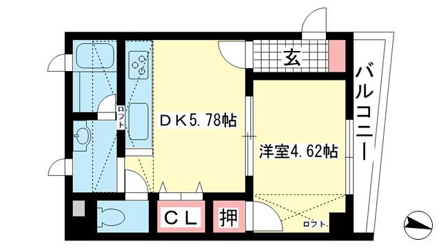 物件番号: 1025881472 GL本町  神戸市東灘区住吉本町2丁目 1DK マンション 間取り図