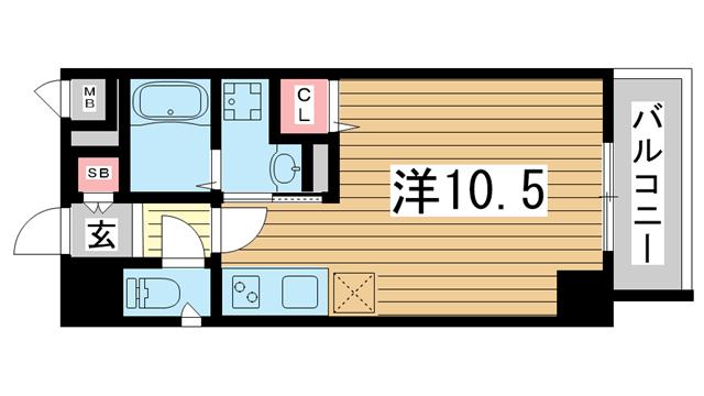 物件番号: 1025881484 SDグランツ神戸大開  神戸市兵庫区大開通7丁目 1K マンション 間取り図