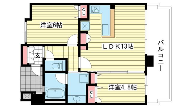 物件番号: 1025881486 KAISEI新神戸第2EAST  神戸市中央区布引町2丁目 2LDK マンション 間取り図