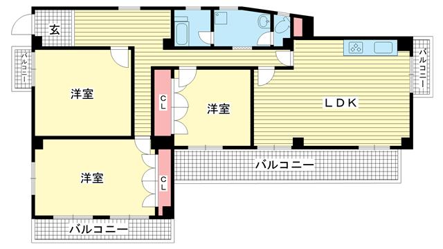 物件番号: 1025881490 ラ・クルー北野ハンター坂  神戸市中央区山本通2丁目 3LDK マンション 間取り図
