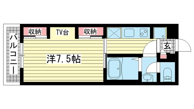 物件番号: 1025881494 リブリ・式部  神戸市灘区赤坂通7丁目 1K マンション 間取り図