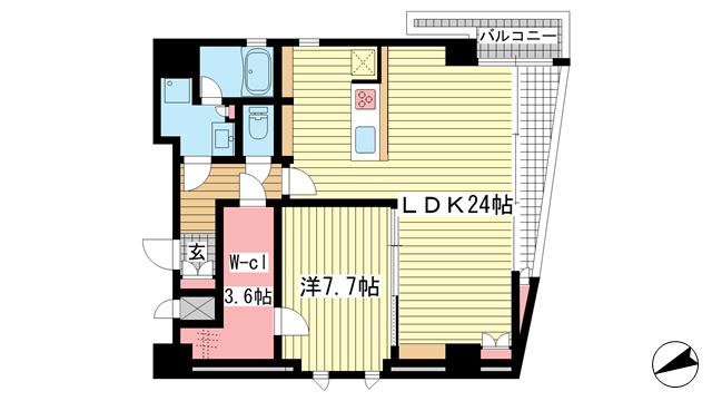 物件番号: 1025881506 NESTY grazia  神戸市中央区琴ノ緒町5丁目 1SLDK マンション 間取り図