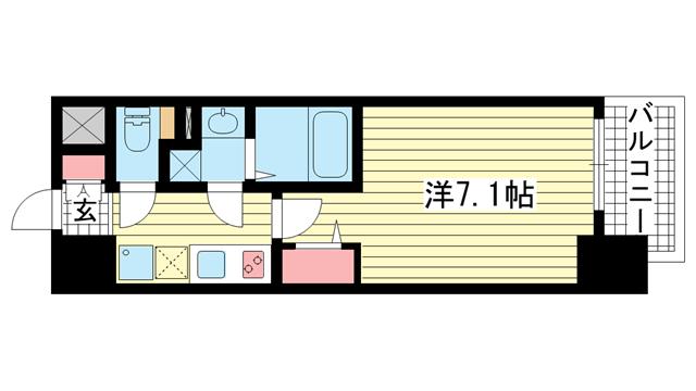 物件番号: 1025881512 ファーストフィオーレ三宮EAST  神戸市中央区東雲通5丁目 1K マンション 間取り図