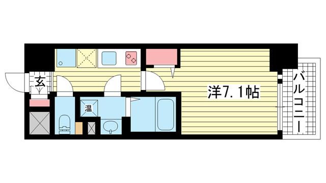 物件番号: 1025881540 ファーストフィオーレ三宮EAST  神戸市中央区東雲通5丁目 1K マンション 間取り図