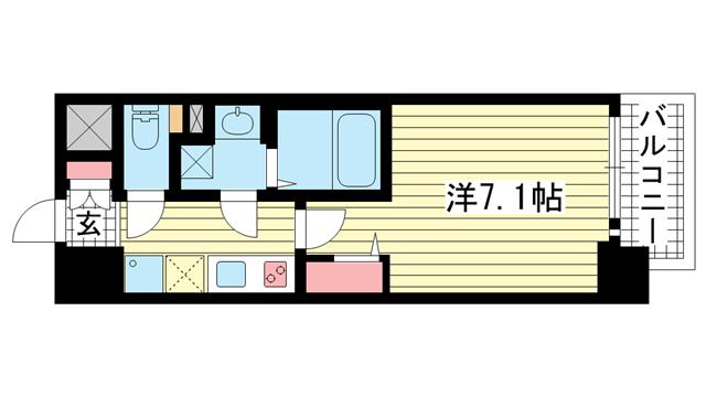 物件番号: 1025881544 ファーストフィオーレ三宮EAST  神戸市中央区東雲通5丁目 1K マンション 間取り図