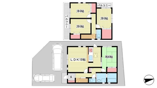物件番号: 1025881559 中里町2丁目戸建  神戸市北区中里町2丁目 4LDK 貸家 間取り図