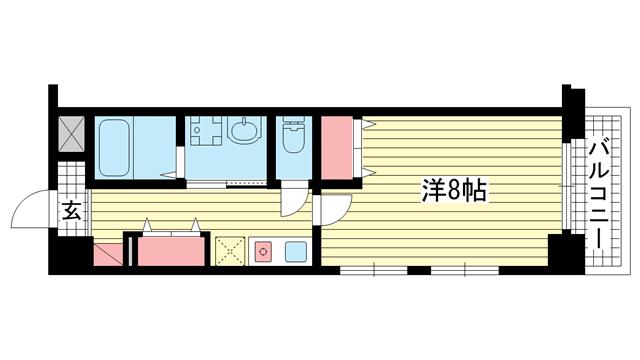 物件番号: 1025881562 ネロエスパジオ  神戸市長田区山下町1丁目 1K マンション 間取り図