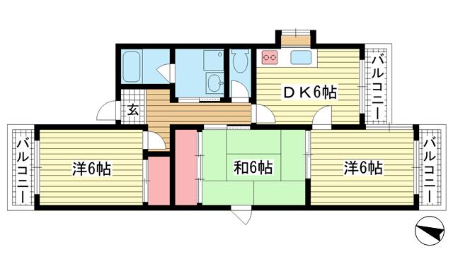 物件番号: 1025881565 クレール・六甲  神戸市灘区楠丘町2丁目 3DK マンション 間取り図