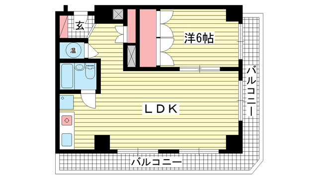 物件番号: 1025881567 カサベラ花隈  神戸市中央区北長狭通6丁目 1LDK マンション 間取り図