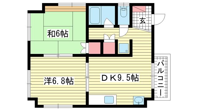 物件番号: 1025881568 島ビル  神戸市中央区下山手通9丁目 2DK マンション 間取り図