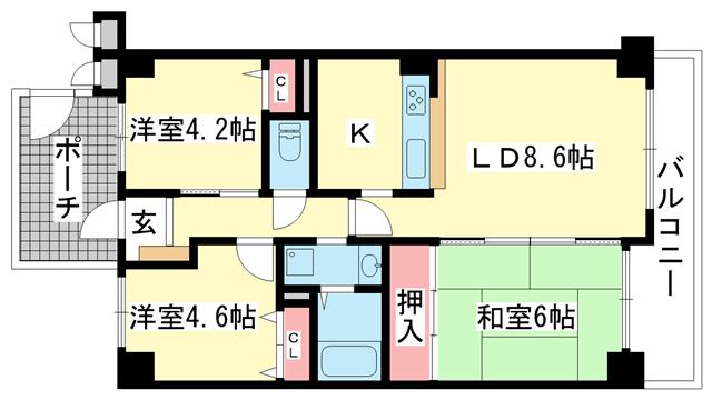 物件番号: 1025881575 兵庫羽坂通パーク・ホームズ  神戸市兵庫区羽坂通3丁目 3LDK マンション 間取り図