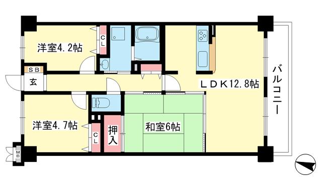物件番号: 1025881578 グランシティ三宮  神戸市中央区雲井通2丁目 2LDK マンション 間取り図