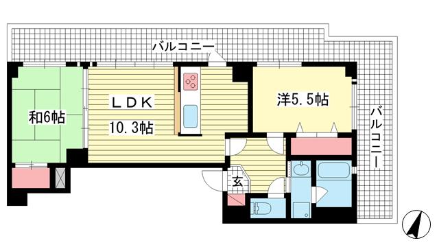 物件番号: 1025881585 ワコーレデュプレックス神戸  神戸市兵庫区新開地4丁目 2LDK マンション 間取り図