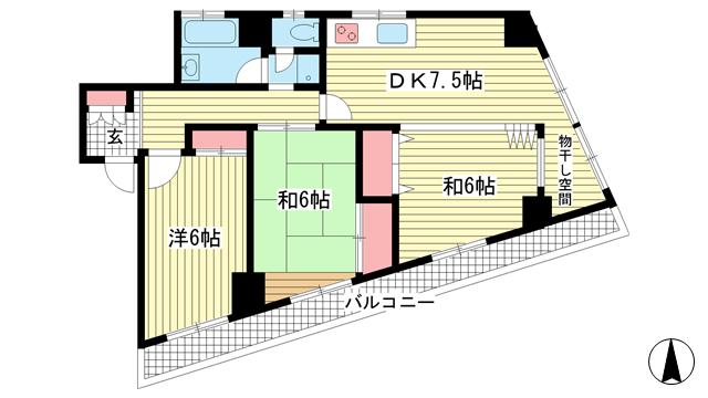 物件番号: 1025881586 鯉川マンション  神戸市中央区下山手通4丁目 3DK マンション 間取り図