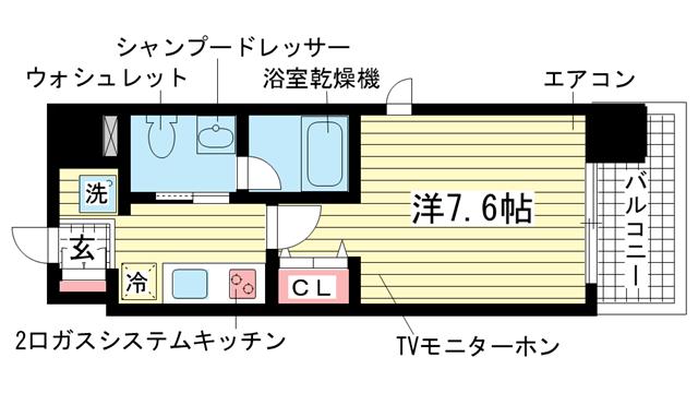 物件番号: 1025881593 リアンジェ兵庫本町  神戸市兵庫区本町1丁目 1K マンション 間取り図