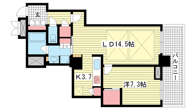 物件番号: 1025881596 アーバンライフ神戸三宮ザ・タワー  神戸市中央区加納町6丁目 1LDK マンション 間取り図