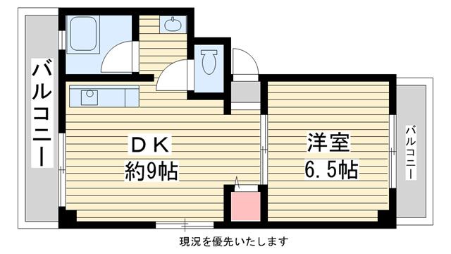 物件番号: 1025881626 みどりマンション  神戸市中央区旗塚通3丁目 1DK マンション 間取り図