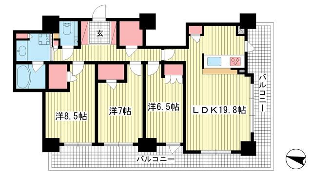 物件番号: 1025881638 ライオンズタワー神戸元町  神戸市中央区栄町通3丁目 2LDK マンション 間取り図