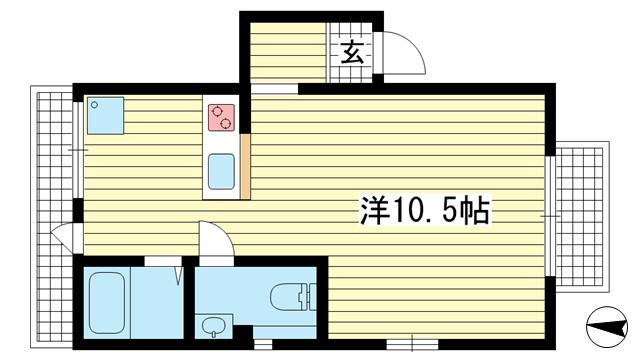 物件番号: 1025881656 津の峰マンション  神戸市中央区熊内町5丁目 1R マンション 間取り図