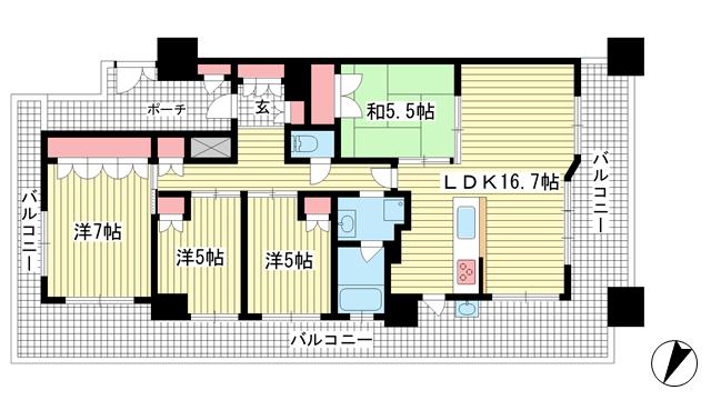 物件番号: 1025881660 リビオ六甲高羽ガーデンスクエア  神戸市灘区高羽字瀧ノ奥 4LDK マンション 間取り図