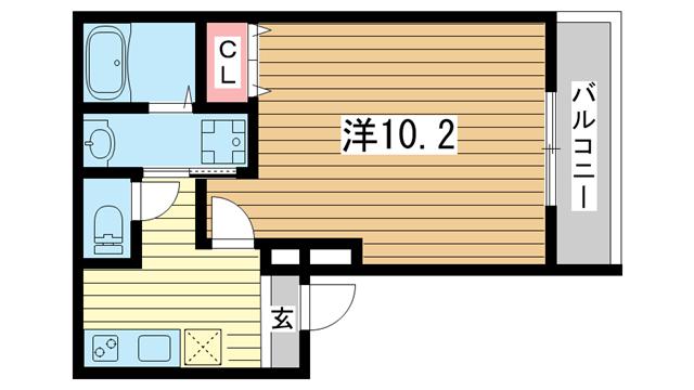 物件番号: 1025881665 フジパレス三宮東  神戸市中央区南本町通4丁目 1K アパート 間取り図
