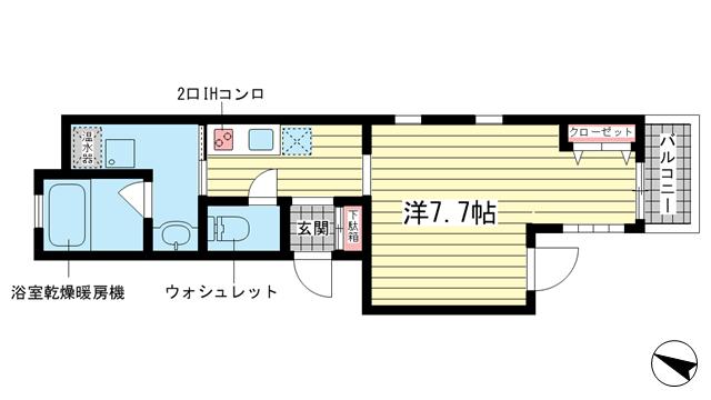 物件番号: 1025881671 ラ・サンテ王子公園  神戸市灘区福住通5丁目 1K マンション 間取り図