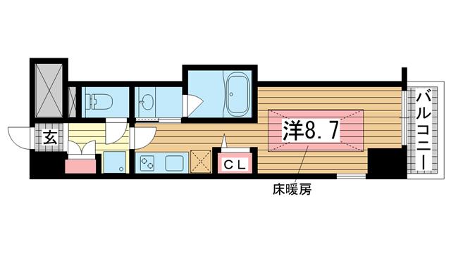 物件番号: 1025881685 J-cube KOBE  神戸市中央区楠町6丁目 1K マンション 間取り図