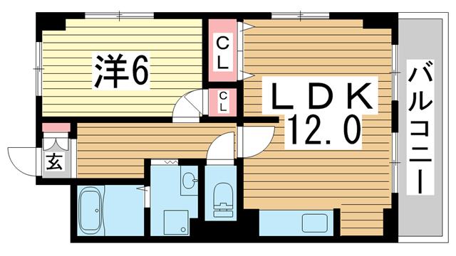 物件番号: 1025881688 マーキス・リー  神戸市中央区山本通3丁目 1LDK マンション 間取り図