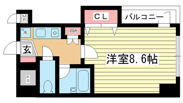 物件番号: 1025881689 カーサ神戸下山手  神戸市中央区下山手通3丁目 1K マンション 間取り図