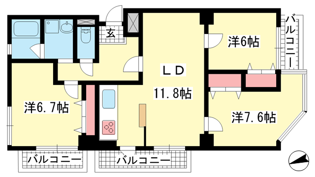 物件番号: 1025881696 中山手セントポリア  神戸市中央区中山手通4丁目 3LDK マンション 間取り図