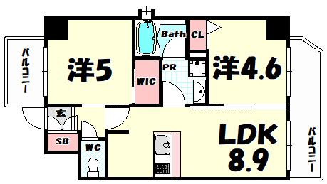 物件番号: 1025881697 エステムプラザ神戸三宮ルクシア  神戸市中央区御幸通3丁目 1SDK マンション 間取り図