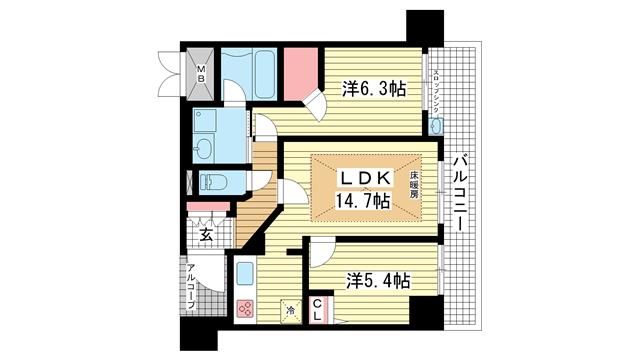 物件番号: 1025881698 エステムプラザ神戸元町・海岸通  神戸市中央区海岸通4丁目 2LDK マンション 間取り図