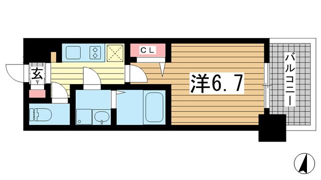 物件番号: 1025881733 レジュールアッシュ神戸元町  神戸市中央区花隈町 1K マンション 間取り図