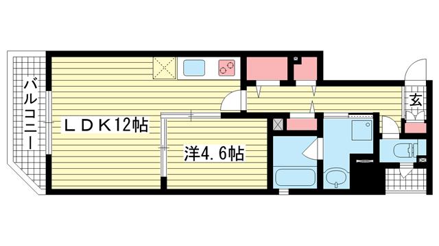 物件番号: 1025881747 マグノリア・トアロード  神戸市中央区中山手通2丁目 1LDK マンション 間取り図