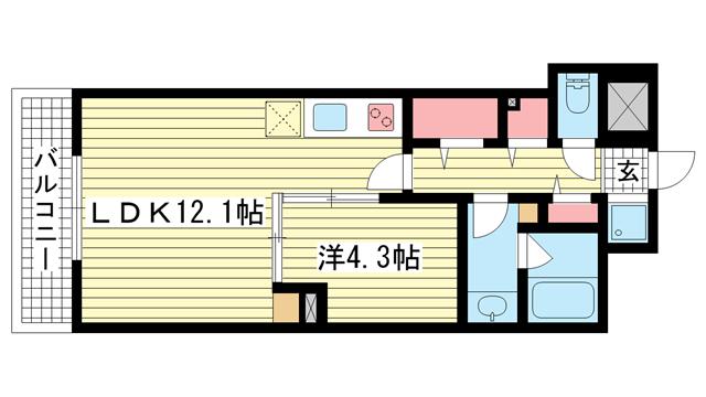 物件番号: 1025881748 マグノリア・トアロード  神戸市中央区中山手通2丁目 1LDK マンション 間取り図