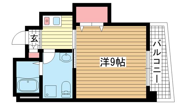 物件番号: 1025881759 ポルト新神戸  神戸市中央区生田町3丁目 1K マンション 間取り図