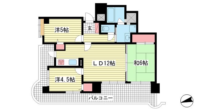 物件番号: 1025881762 ワコーレウィンディ舞子  神戸市垂水区北舞子3丁目 3LDK マンション 間取り図