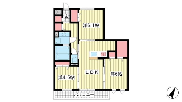 物件番号: 1025881763 LaLa FUKUDA(ララ フクダ)  神戸市垂水区福田1丁目 3LDK マンション 間取り図