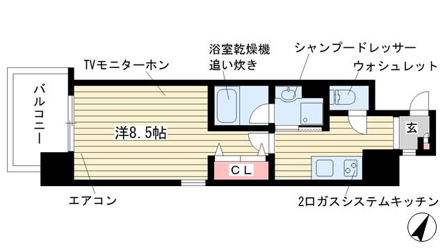 物件番号: 1025881766 ヘスティア神戸  神戸市中央区磯上通5丁目 1K マンション 間取り図