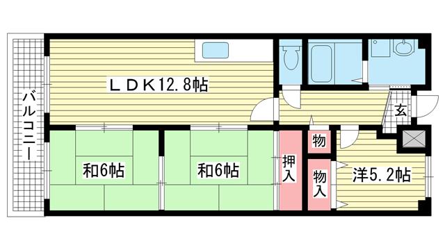物件番号: 1025881784 サンハイツ東山  神戸市兵庫区東山町1丁目 3LDK マンション 間取り図