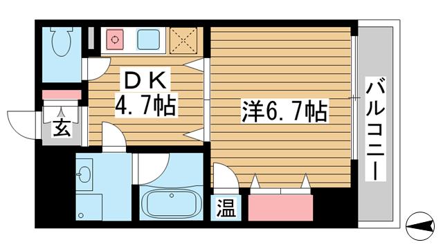 物件番号: 1025881813 モアライフ魚崎  神戸市東灘区魚崎西町3丁目 1DK マンション 間取り図